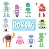 Ρομπότ και androids μετασχηματιστών αναδρομικό κινούμενων σχεδίων παιχνιδιών διάνυσμα μηχανών ρομποτικής χαρακτήρα μελλοντικό τεχ Στοκ φωτογραφία με δικαίωμα ελεύθερης χρήσης