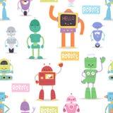 Ρομπότ και androids μετασχηματιστών κινούμενων σχεδίων παιχνιδιών χαρακτήρα ρομποτικής υπόβαθρο σχεδίων μηχανών cyborg διανυσματι Στοκ φωτογραφίες με δικαίωμα ελεύθερης χρήσης