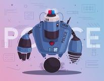 Ρομπότ κηφήνων αστυνομίας Σπόλα περιπόλου με την τεχνητή νοημοσύνη ελεύθερη απεικόνιση δικαιώματος