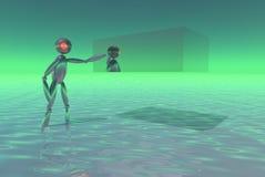 ρομπότ κύβων που θέτει υπε& Στοκ Εικόνες