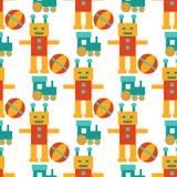 Ρομπότ μετασχηματιστών androids κινούμενων σχεδίων παιχνιδιών χαρακτήρα ρομποτικής υπόβαθρο σχεδίων μηχανών cyborg διανυσματικό ά Στοκ Εικόνα