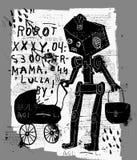 Ρομπότ με ένα καροτσάκι Στοκ εικόνα με δικαίωμα ελεύθερης χρήσης