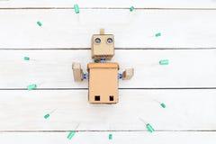 Ρομπότ με τα χέρια Επίπεδος βάλτε Στοκ φωτογραφία με δικαίωμα ελεύθερης χρήσης