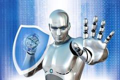 Ρομπότ με την ασπίδα Στοκ Εικόνες