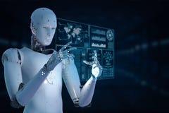 Ρομπότ με την ταμπλέτα γυαλιού διανυσματική απεικόνιση