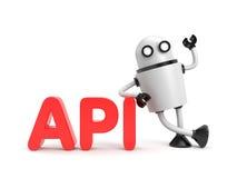 Ρομπότ με τη λέξη API Στοκ Εικόνες