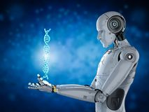 Ρομπότ με τον έλικα DNA διανυσματική απεικόνιση