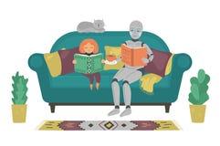 Ρομπότ με το βιβλίο ανάγνωσης παιδιών στον καναπέ στο σπίτι Κορίτσι βοήθειας ρομπότ για να κάνει την εργασία Φουτουριστική έννοια ελεύθερη απεικόνιση δικαιώματος