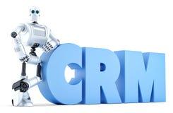 Ρομπότ με το σημάδι CRM γαλαζωπή πολυτέλεια lap-top πληκτρολογίων εστίασης επιχειρησιακής έννοιας λεπτή κινητή πέρα από λευκό χρο Στοκ φωτογραφία με δικαίωμα ελεύθερης χρήσης
