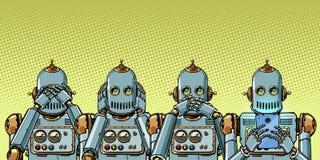 Ρομπότ με το τηλέφωνο, έννοια εθισμού Διαδικτύου να μην δει ακούστε λέει διανυσματική απεικόνιση