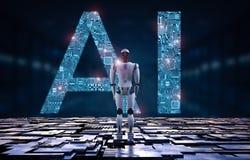 Ρομπότ με το AI ελεύθερη απεικόνιση δικαιώματος