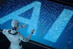 Ρομπότ με το AI Στοκ Εικόνες