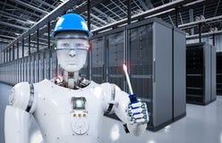 Ρομπότ που λειτουργεί στο δωμάτιο κεντρικών υπολογιστών διανυσματική απεικόνιση