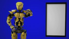 Ρομπότ που κάνει έναν ρόλο και ένα σημείο βραχιόνων στο κενό σημάδι απόθεμα βίντεο