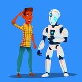 Ρομπότ που μιλά με το διάνυσμα ατόμων φίλων απομονωμένη ωθώντας s κουμπιών γυναίκα έναρξης χεριών απεικόνιση απεικόνιση αποθεμάτων