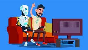 Ρομπότ που παίζει το τηλεοπτικό παιχνίδι με το διάνυσμα φίλων απομονωμένη ωθώντας s κουμπιών γυναίκα έναρξης χεριών απεικόνιση διανυσματική απεικόνιση