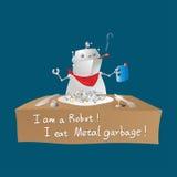Ρομπότ που τρώει τα απορρίματα μετάλλων στοκ εικόνα με δικαίωμα ελεύθερης χρήσης