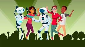 Ρομπότ που χορεύουν σε Disco με το διάνυσμα ανθρώπων απομονωμένη ωθώντας s κουμπιών γυναίκα έναρξης χεριών απεικόνιση διανυσματική απεικόνιση