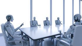 Ρομπότ στη αίθουσα συνδιαλέξεων απεικόνιση αποθεμάτων