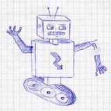 Ρομπότ Σχέδιο παιδιών σε ένα σχολικό σημειωματάριο Στοκ Εικόνες