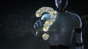 Ρομπότ, cyborg αγγιγμένη οθόνη, χρυσά εργαλεία χάλυβα που κάνει τη μορφή ερωτηματικών νοημοσύνη οράματος
