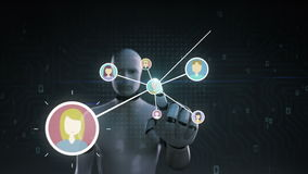 Ρομπότ, cyborg σχετικά με το ανθρώπινο εικονίδιο, συνδέοντας άνθρωποι, επιχειρησιακό δίκτυο κοινωνικό εικονίδιο υπηρεσιών μέσων 1 διανυσματική απεικόνιση