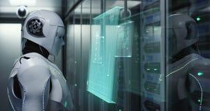 Ρομπότ Humanoid που λειτουργεί σε ένα κέντρο δεδομένων απόθεμα βίντεο