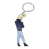 δροσερός τύπος κινούμενων σχεδίων με τη σκεπτόμενη φυσαλίδα Στοκ φωτογραφία με δικαίωμα ελεύθερης χρήσης