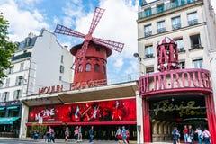 ρουζ του Παρισιού moulin της Γαλλίας Στοκ Εικόνες