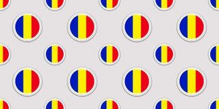 Ρουμανία γύρω από το άνευ ραφής σχέδιο σημαιών Ρουμανικό υπόβαθρο Διανυσματικά εικονίδια κύκλων Γεωμετρικά σύμβολα Σύσταση για το ελεύθερη απεικόνιση δικαιώματος