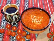 Ρουμανικά παραδοσιακά τρόφιμα φασολιών Mancare de Fasole στοκ φωτογραφία