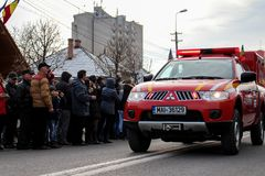 Ρουμανική έκτακτη ανάγκη παρελάσεων εθνικής μέρας στρατιωτική vehicule στοκ φωτογραφία με δικαίωμα ελεύθερης χρήσης