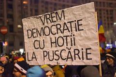 Ρουμανική διαμαρτυρία 29/01/2017 στοκ φωτογραφία με δικαίωμα ελεύθερης χρήσης