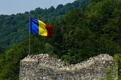 Ρουμανική σημαία στο κάστρο Poenari, κάστρο Dracula, Ρουμανία Στοκ φωτογραφίες με δικαίωμα ελεύθερης χρήσης
