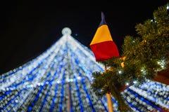 Ρουμανική σημαία - φω'τα Χριστουγέννων Στοκ φωτογραφίες με δικαίωμα ελεύθερης χρήσης