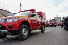 Ρουμανικοί πυροσβέστες παρελάσεων εθνικής μέρας στρατιωτικοί στοκ εικόνες με δικαίωμα ελεύθερης χρήσης