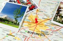 Ρουμανικός χάρτης - Βουκουρέστι Στοκ Φωτογραφία
