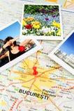 Ρουμανικός χάρτης - Βουκουρέστι Στοκ Εικόνες