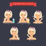 Ρουτίνα προσοχής νυχτερινού προσώπου Καθημερινό Skincare Στοκ εικόνες με δικαίωμα ελεύθερης χρήσης