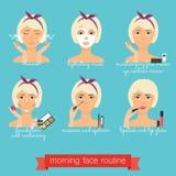Ρουτίνα προσοχής προσώπου πρωινού Καθημερινό Skincare Στοκ φωτογραφία με δικαίωμα ελεύθερης χρήσης
