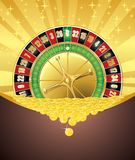 Ρουλέτα και χρυσά νομίσματα διανυσματική απεικόνιση