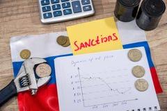 ρούβλι πληθωρισμού Ρωσικές κυρώσεις ευρώ και δολάριο εναντίον του ρουβλιού Στοκ Φωτογραφίες