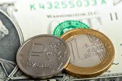 Ρούβλι και ευρώ Στοκ Εικόνες