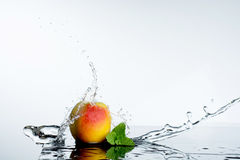 Ροδάκινο στον ψεκασμό του ύδατος Juicy ροδάκινο με τον παφλασμό Στοκ Εικόνα
