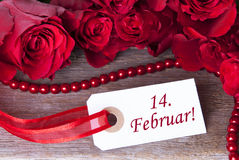 Ροδοειδές υπόβαθρο με 14. Februar Στοκ Φωτογραφίες
