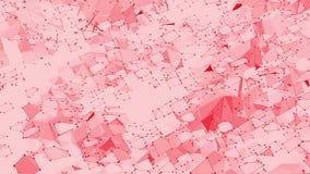 Ροδοειδής ή ρόδινη χαμηλή πολυ επιφάνεια κυματισμού ως ζωντανεψοντα περιβάλλον Κόκκινο polygonal γεωμετρικό δομένος περιβάλλον ή  διανυσματική απεικόνιση