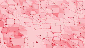 Ροδοειδής ή ρόδινη χαμηλή πολυ επιφάνεια κυματισμού ως fractal περιβάλλον Κόκκινο polygonal γεωμετρικό δομένος περιβάλλον ή να κυ διανυσματική απεικόνιση
