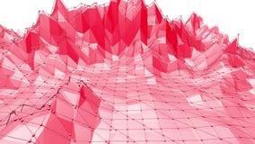 Ροδοειδής ή ρόδινη χαμηλή πολυ ταλαντεμένος επιφάνεια ως φανταστική ανακούφιση Polygonal κόκκινο δομένος περιβάλλον ή να κυμαθεί  διανυσματική απεικόνιση