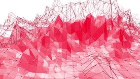 Ροδοειδής ή ρόδινη χαμηλή πολυ ταλαντεμένος επιφάνεια ως φουτουριστική ανακούφιση Polygonal κόκκινο δομένος περιβάλλον ή να κυμαθ διανυσματική απεικόνιση
