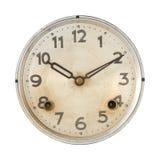 Ρολόγια που απομονώνονται παλαιά στο λευκό. Στοκ Φωτογραφίες